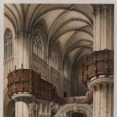 Arte: CORO DE LA BASILICA DE SANTIAGO EN BILBAO - GENARO PEREZ VILLAMIL (1807-1854) - 45X32 CM. Lote 199104502
