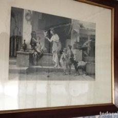 Arte: PRECISO GRABADO ANTIGUO CON EL MARCO DE CAOBA, ESCENA POMPEYANA. Lote 199165387