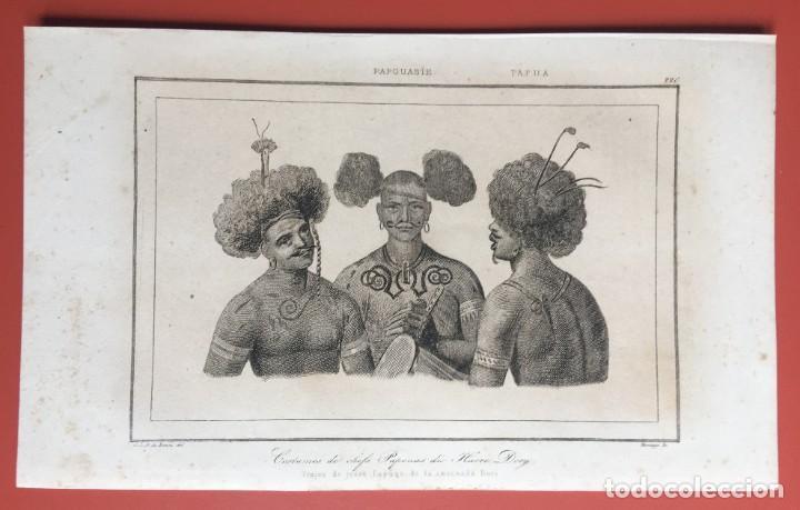 1860 - GRABADO PAPUA NUEVA GUINEA -TRAJES JEFES DORI - TATTOO - TATUAJE - 210X120 MM (Arte - Grabados - Modernos siglo XIX)