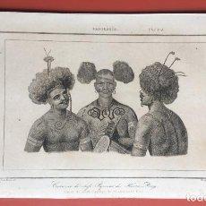 Arte: 1860 - GRABADO PAPUA NUEVA GUINEA -TRAJES JEFES DORI - TATTOO - TATUAJE - 210X120 MM. Lote 199317562