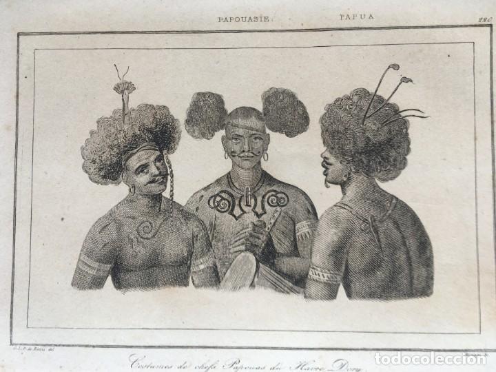 Arte: 1860 - GRABADO PAPUA NUEVA GUINEA -TRAJES JEFES DORI - TATTOO - TATUAJE - 210x120 mm - Foto 2 - 199317562