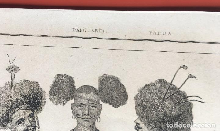 Arte: 1860 - GRABADO PAPUA NUEVA GUINEA -TRAJES JEFES DORI - TATTOO - TATUAJE - 210x120 mm - Foto 3 - 199317562