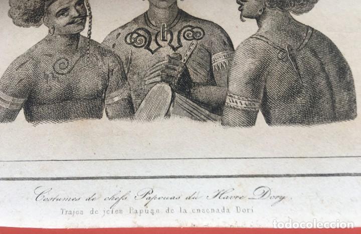 Arte: 1860 - GRABADO PAPUA NUEVA GUINEA -TRAJES JEFES DORI - TATTOO - TATUAJE - 210x120 mm - Foto 4 - 199317562