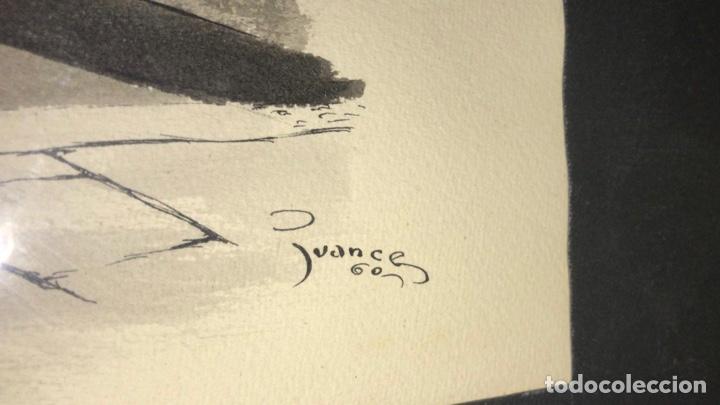 Arte: CUADRO CON LÁMINA ORIGINAL PINTADA POR JUANCE 1960 Cáceres - Foto 3 - 199323671