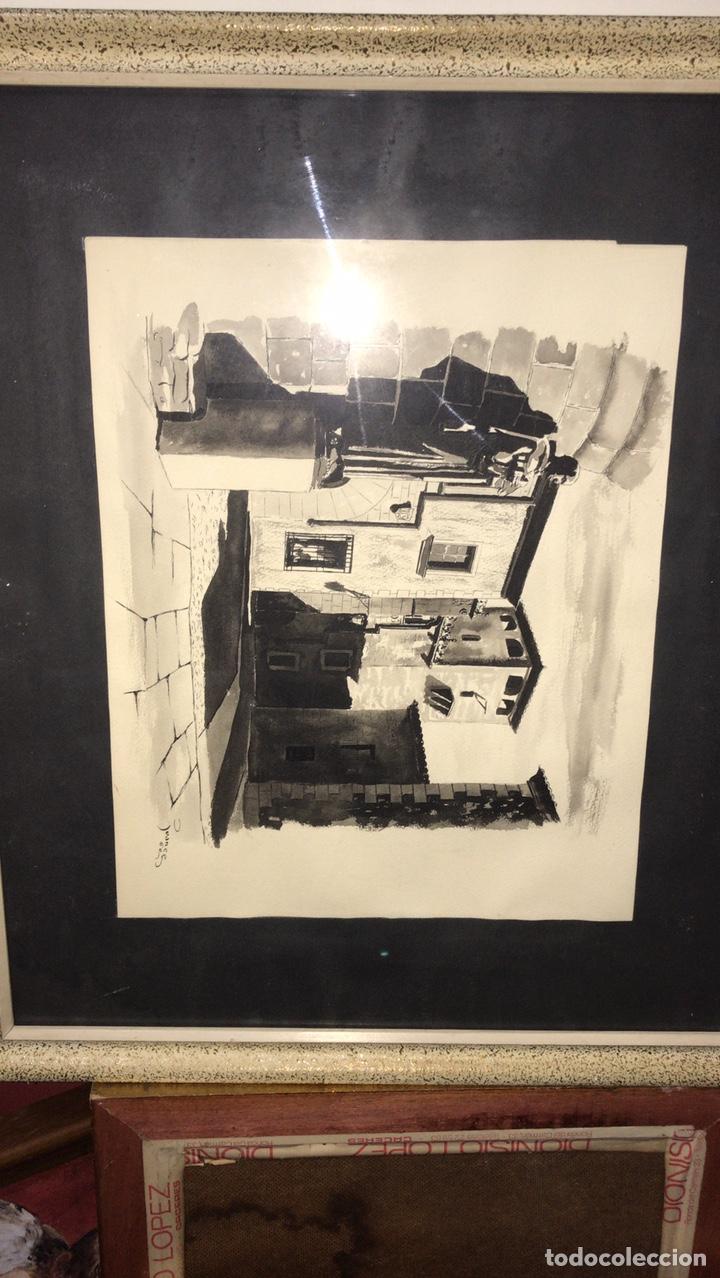 Arte: CUADRO CON LÁMINA ORIGINAL PINTADA POR JUANCE 1960 Cáceres - Foto 5 - 199323671