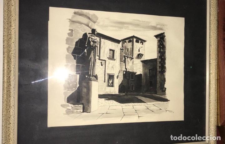 CUADRO CON LÁMINA ORIGINAL PINTADA POR JUANCE 1960 CÁCERES (Arte - Grabados - Contemporáneos siglo XX)