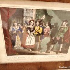 Art: 4 MARAVILLOSOS GRABADOS COLOREADOS ANTIGUOS,GIL BLAS, MARCOS ANTIGUOS. Lote 199328995