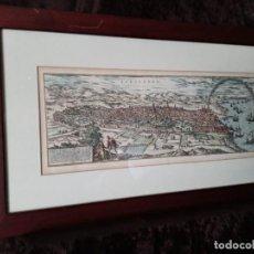 Arte: GRABADO AL COBRE; COLOREADO A MANO / * VISTA DE BARCELONA *. GRABADOR; FRANZ HOGEMBERE. 1572.. Lote 199391106