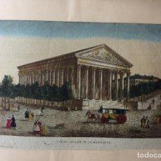 Arte: ANTIGUO GRABADO FRANCÉS ,VUE DE L'EGLISE DE LA MADELEINE-SIGLO XVIII. Lote 199673471