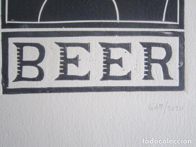 Arte: BEER (Cerveza) - Grabado sobre linóleo de GAP (Guillermo Antón) -27x39 cm - Foto 3 - 199730718