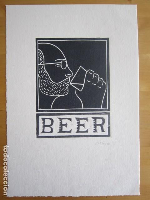 Arte: BEER (Cerveza) - Grabado sobre linóleo de GAP (Guillermo Antón) -27x39 cm - Foto 4 - 199730718