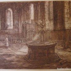 Arte: LOPEZ RAMON. MONASTERIO DE POBLET. EL REFETOR. AGUAFUERTE, 43X34 CM. Lote 199788582
