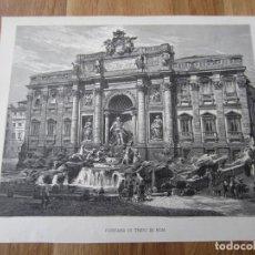 Arte: 1875-GRABADO ORIGINAL.ITALIA. FONTANA DI TREVI. ROMA. FUENTE. Lote 200527788