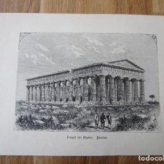 Arte: 1870-GRABADO ORIGINAL.ITALIA. TEMPLO DE NEPTUNO. HERA. PAESTUM. CAMPANIA. Lote 200528395