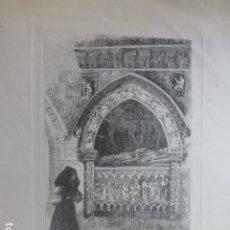 Arte: SALAMANCA SEPULCRO DE LA CATEDRAL VIEJA GRABADO SIGLO XIX M. ALCAZAR 22 X 32 CMTS. Lote 200617802