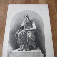 Arte: 1868-GRABADO ORIGINAL. ITALIA. EL MOISÉS DE MIGUEL ANGEL. ROMA. Lote 200806781