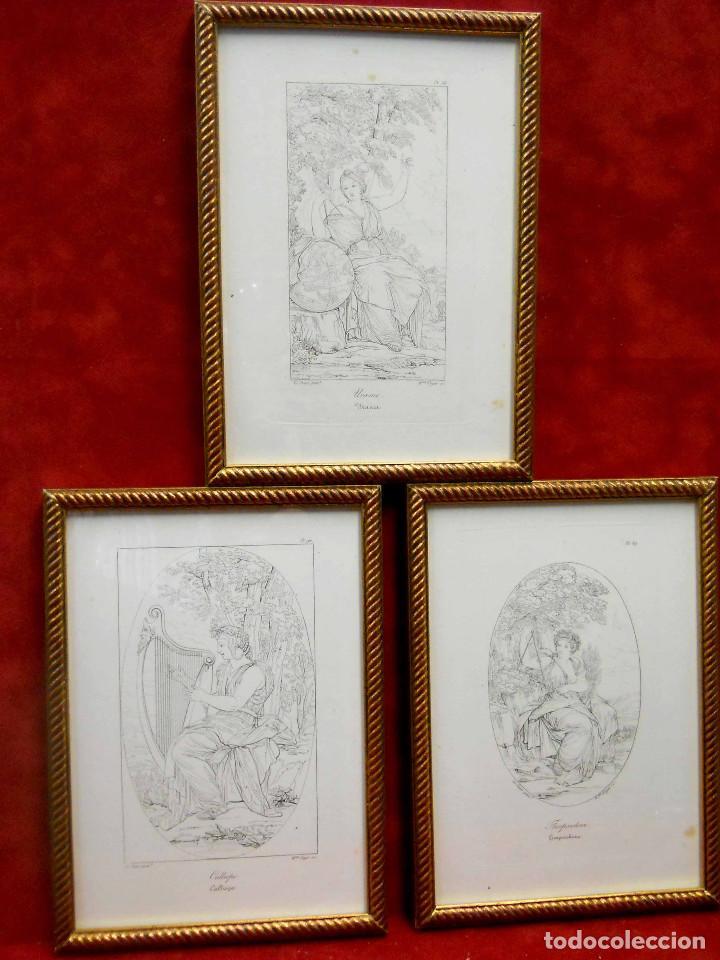 MITOLOGIA MUSAS EUSTACHE LE SUEUR GRABADO LOTE 3 CUADROS 1844 (Arte - Grabados - Modernos siglo XIX)