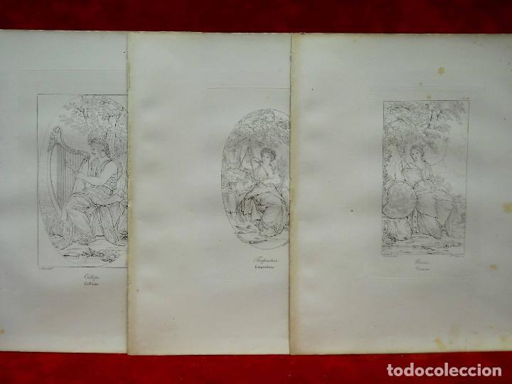 Arte: Mitologia Musas Eustache Le Sueur grabado lote 3 cuadros 1844 - Foto 5 - 201290788