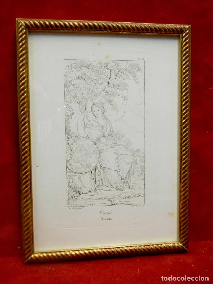 Arte: Mitologia Musas Eustache Le Sueur grabado lote 3 cuadros 1844 - Foto 7 - 201290788