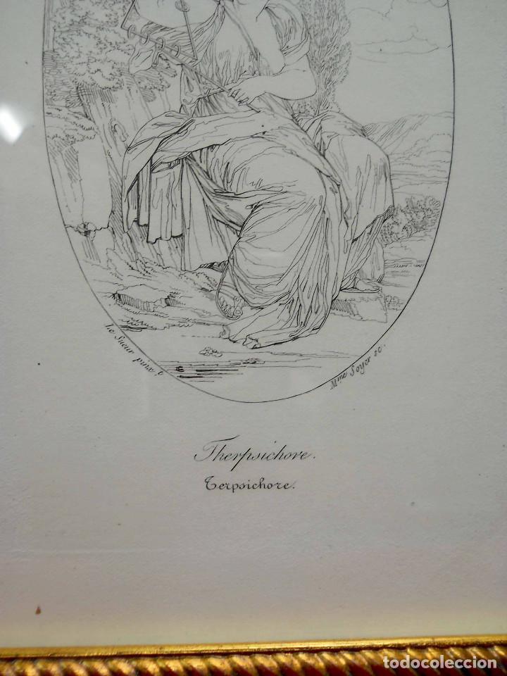 Arte: Mitologia Musas Eustache Le Sueur grabado lote 3 cuadros 1844 - Foto 11 - 201290788