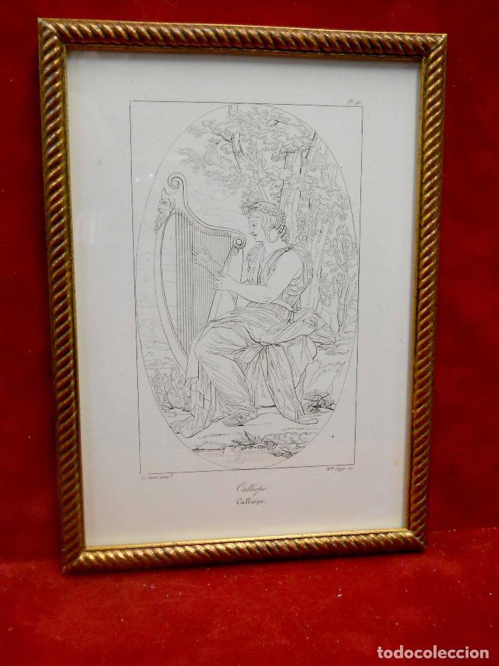 Arte: Mitologia Musas Eustache Le Sueur grabado lote 3 cuadros 1844 - Foto 12 - 201290788