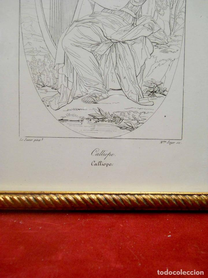 Arte: Mitologia Musas Eustache Le Sueur grabado lote 3 cuadros 1844 - Foto 14 - 201290788