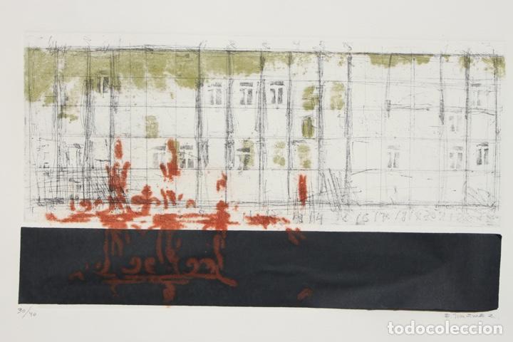ELENA JIMÉNEZ (ALICANTE1965). GRABADO Y COLLAGE DE 75,8X56 PAPEL Y HUELLA 49,5X28. EJEM. 30/40. (Arte - Grabados - Contemporáneos siglo XX)