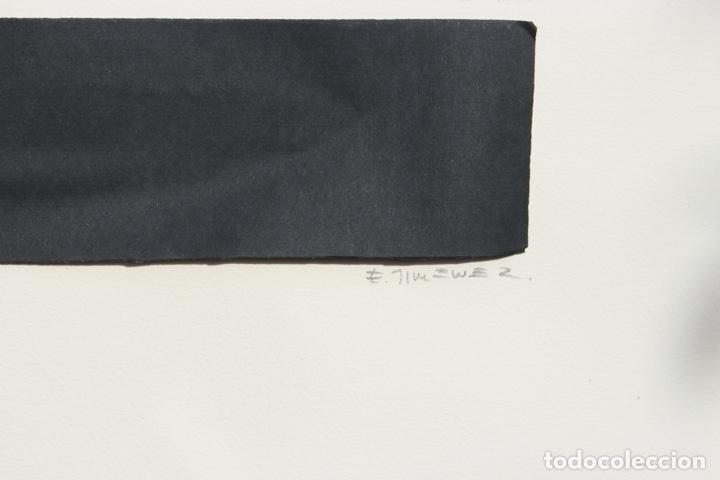 Arte: Elena Jiménez (Alicante1965). Grabado y collage de 75,8x56 papel y huella 49,5x28. Ejem. 30/40. - Foto 11 - 201666207