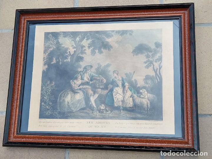 GRABADO A COLOR FRANCES. LES AMOURS DU BOCAGE. ENMARCADO. S. XVIII. (Arte - Grabados - Antiguos hasta el siglo XVIII)