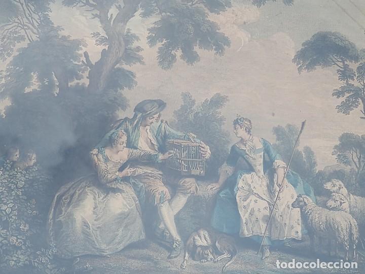Arte: GRABADO A COLOR FRANCES. LES AMOURS DU BOCAGE. ENMARCADO. S. XVIII. - Foto 3 - 201732833