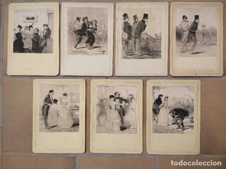 LOTE DE SIETE GRABADOS FRANCESES DE ESCENAS COSTUMBRISTAS. S. XIX. (Arte - Grabados - Modernos siglo XIX)