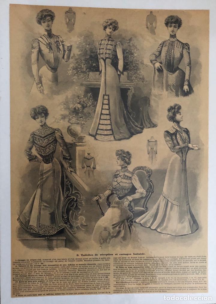 Arte: Seis grabados antiguos de costura.Francia. - Foto 2 - 202344276