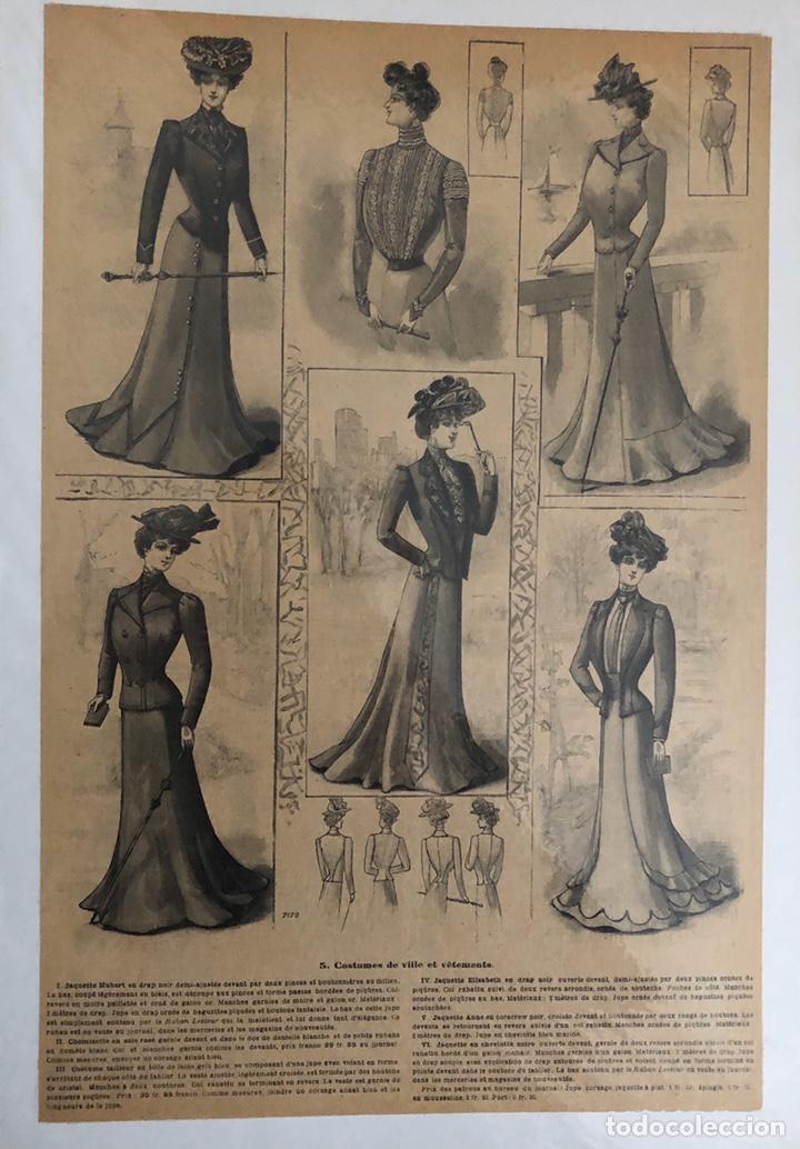Arte: Seis grabados antiguos de costura.Francia. - Foto 4 - 202344276