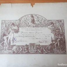 Arte: GRABADO DIPLOMA ESCUELA BELLAS ARTES SEVILLA 1940. JIMÉNEZ ARANDA. ORIGINAL. Lote 202440241
