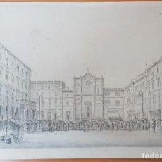 Arte: GRABADO ANTIGUO IGLESIA Y PLAZA DE CIUDAD ITALIANA. BYN.. Lote 202467131
