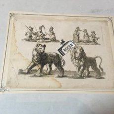 Arte: ANTIGUO GRABADO HUMORÍSTICO DE ANIMALES S.XVIII- ORIGINAL MONTADO SOBRE CARTULINA 30,5X23 CM.. Lote 202777222