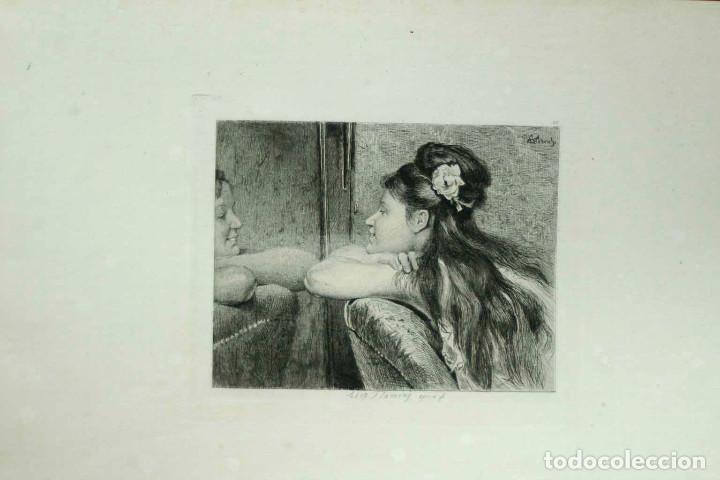 Arte: COQUETTERIE STEVENS BOETZEL 1875 grabado cuadro - Foto 5 - 202942440