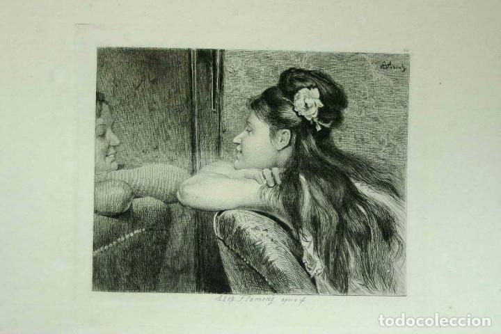 Arte: COQUETTERIE STEVENS BOETZEL 1875 grabado cuadro - Foto 6 - 202942440