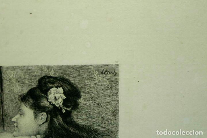 Arte: COQUETTERIE STEVENS BOETZEL 1875 grabado cuadro - Foto 8 - 202942440