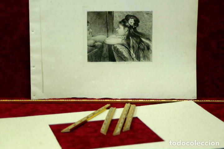 Arte: COQUETTERIE STEVENS BOETZEL 1875 grabado cuadro - Foto 9 - 202942440