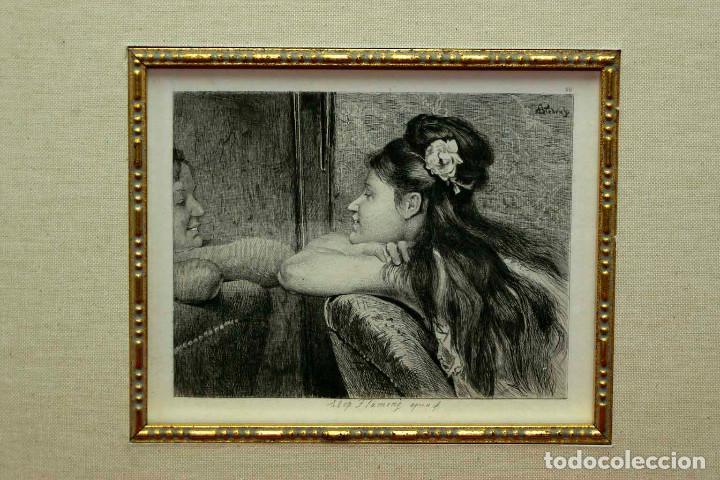 Arte: COQUETTERIE STEVENS BOETZEL 1875 grabado cuadro - Foto 17 - 202942440