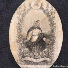 Arte: PEQUEÑO GRABADO DE LA VIRGEN, ORLA FLORAL. 'ELLE EST ORNÉE DE TOUTES LES PERFECTIONS'. 1850 H.. Lote 203296613