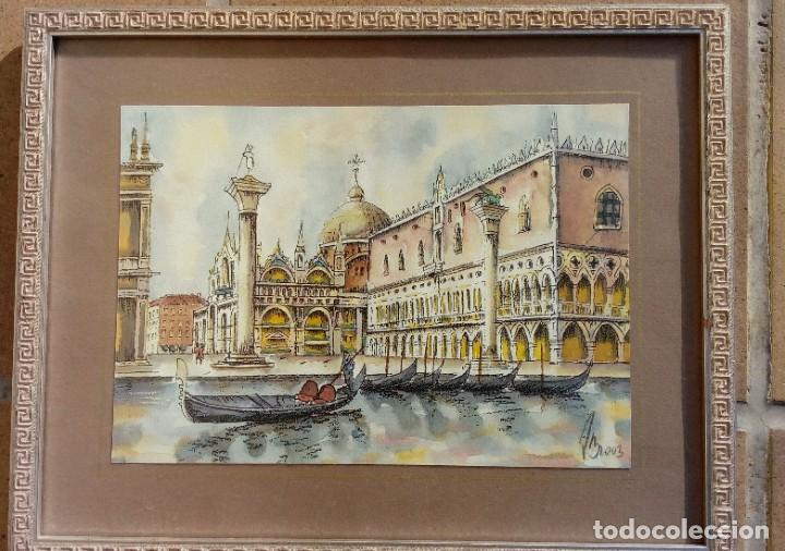 Arte: ESCUELA ITALIANA. RINCÓN DE VENECIA. GRABADO A COLOR SOBRE PAPEL. MARCO PAN DE PLATA. FIRMA ILEGIBLE - Foto 2 - 203328077