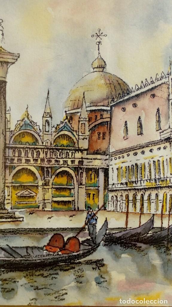 Arte: ESCUELA ITALIANA. RINCÓN DE VENECIA. GRABADO A COLOR SOBRE PAPEL. MARCO PAN DE PLATA. FIRMA ILEGIBLE - Foto 3 - 203328077