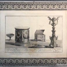 Arte: ROCCHEGGIANI - GRABADO ORIGINAL. ELEMENTOS ROMANOS. (FIN SIGLO XVIII) MEDIDAS: 43,5 X 33,5 CM.,. Lote 203392718