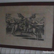 Arte: GRABADO EN PAPEL GVARRO. ANTOINE PLUVINEL Y EL REY DE FRANCIA LUIS XIII. ACADEMIA DE EQUITACIÓN.. Lote 203433710