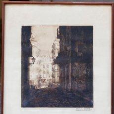 Arte: RAMON BATLLE, CALLE, GRABADO, CON MARCO. 48X40CM. Lote 203774680