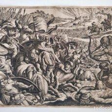 Arte: INTERESANTE GRABADO DEL SIGLO XVIII, BATALLA CAMPAL, GRAN DETALLE Y MINUCIOSIDAD. Lote 203904362