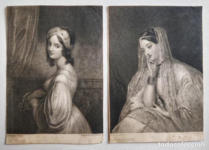 LOTE DE DOS MARAVILLOSOS RETRATOS DE BELLAS JOVENES, PRINCIPIOS DEL SIGLO XIX (Arte - Grabados - Modernos siglo XIX)