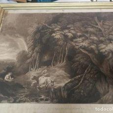 Arte: LAMINA SIGLO XVIII RETREATING SHOWER DE WILLIAM HODGES (1744-1779) ROBERT POLLARD BRITISH MUSEUM. Lote 204970088